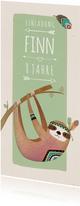 Einladung zum Kindergeburtstag mit Indianer-Faultier