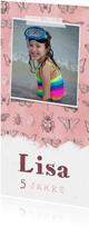 Einladung zum Kindergeburtstag rosa Insekten und Foto