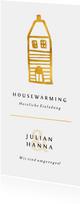 Einladung zur Housewarming mit goldenem Haus