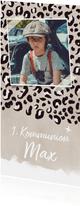 Einladung zur Kommunion Foto & brauner Leopardenprint