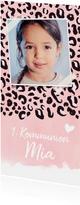Einladung zur Kommunion Foto & rosa Leopardenprint