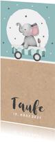 Einladung zur Taufe Elefant in Wagen blau