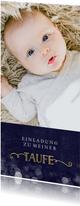 Einladung zur Taufe großes Foto dunkelblau