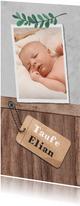 Einladung zur Taufe Holzlook mit Foto und Anhänger