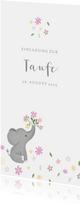 Einladung zur Taufe mit Elefant und Blumen