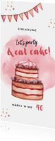 Einladungskarte Geburtstagsparty mit Torte