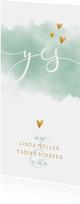 Einladungskarte Hochzeit mit Wasserfarbe und goldenen Herzen