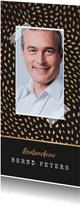 Einladungskarte Rentnerfeier schwarz-gold mit Foto