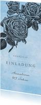 Einladungskarte zum Geburtstag Rosen graublau