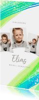 Einladungskarte zur Einschulung Fotos grüne Streifen