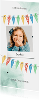 Einladungskarte zur Einschulung Fröhliche Schultüten