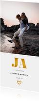 Einladungskarte zur Hochzeit Goldakzente Foto Hochformat