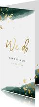 Einladungskarte zur Hochzeit grün-gold mit Timeline
