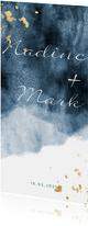 Einladungskarte zur Hochzeit im blauen Aquarelldesign