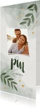 Einladungskarte zur Hochzeit mit Foto, Herzen und Zweigen