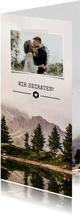 Einladungskarte zur Hochzeit mit Foto im botanischen Look