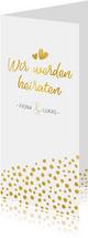 Einladungskarte zur Hochzeit mit Timeline im Goldlook