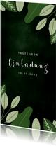 Einladungskarte zur Taufe Blätter botanisch