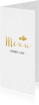Feestelijke langwerpige menukaart voor een huwelijk met goud