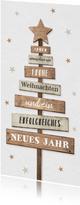 Firmen-Weihnachtskarte Weihnachtsbaum Holz