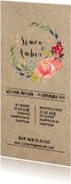 Trouwkaarten - Floral chic trouwkaart met prachtige watercolor bloemen
