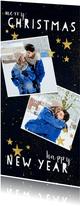 Fotokaart met typografie en gouden sterren