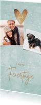 Fotokarte Weihnachten Schnee & Herz