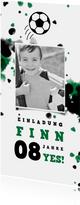 Fußball-Einladung mit Foto und Farbspritzern