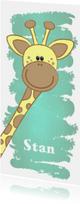 Geboorte hip langwerpig kaartje met een lief girafje