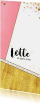 Geboortekaartjes - Geboorte hip roze en goud kleurig kaartje hartjes en sterren