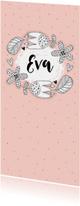 Geboortekaartjes - Geboorte meisje kader bloemen stippen grafisch - MW