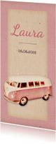 Geboorte retro busje roze langwerpig - BK