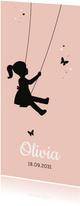 Geboorte - Silhouet meisje op schommel