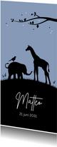 Geboorte - Silhouet olifantje en giraf