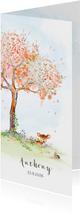 Geboortekaart hertje - herfstboom