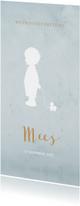 Geboortekaart langwerpig blauw aquarel silhouet - BC