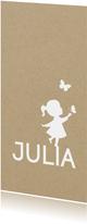 Geboortekaart langwerpig met silhouet van meisje en vlinder