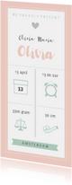 Geboortekaart langwerpig pictogrammen roze - BC