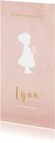Geboortekaart langwerpig roze aquarel silhouet - BC
