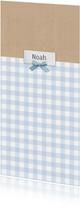 Geboortekaart langwerpig ruitjes kraft blauw - BC
