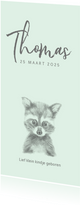 Geboortekaart met een potloodtekening van een wasbeertje