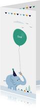 Geboortekaart olifant met groene ballon