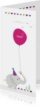 Geboortekaart olifant met roze ballon