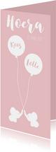 Geboortekaart Olli roze