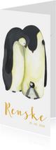 Geboortekaart pinguïn familie illustratie