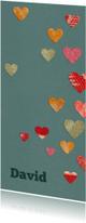 Geboortekaart voor jongen met gekleurde hartjes