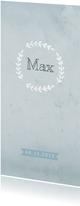 Geboortekaart waterverf langwerpig rozet blauw - BC