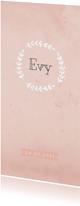 Geboortekaart waterverf langwerpig rozet roze - BC