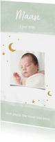 Geboortekaarte mint met maan en sterren