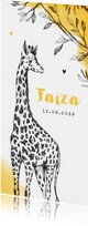 Geboortekaartje adoptie giraf okergeel afrika